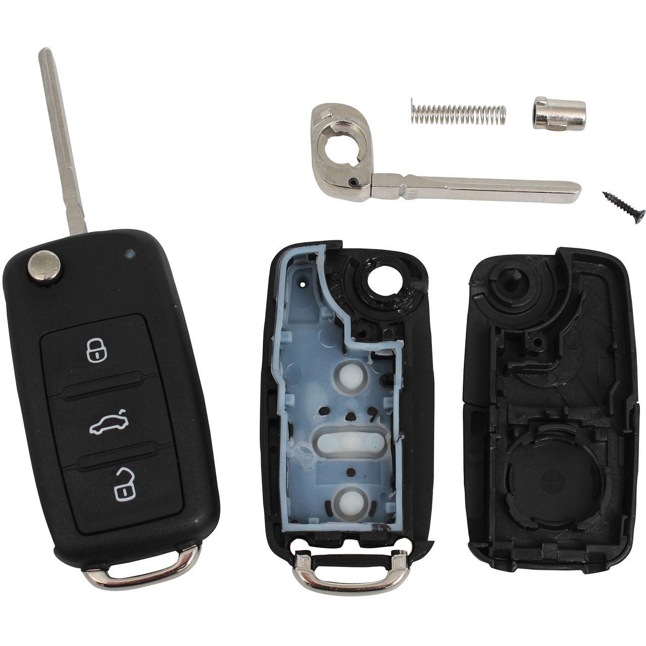 1x Schlüsselgehäuse + Schlüsselrohling 3-Tasten VW Golf 6 7 Passat Polo Tiguan Touran T5