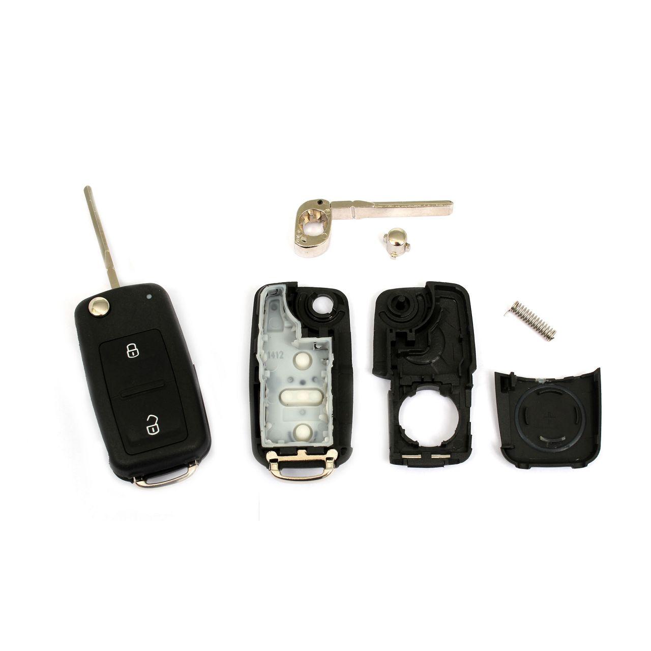 1x Schlüsselgehäuse + Schlüsselrohling 2-Tasten für VW Bora Caddy 3 Golf 4