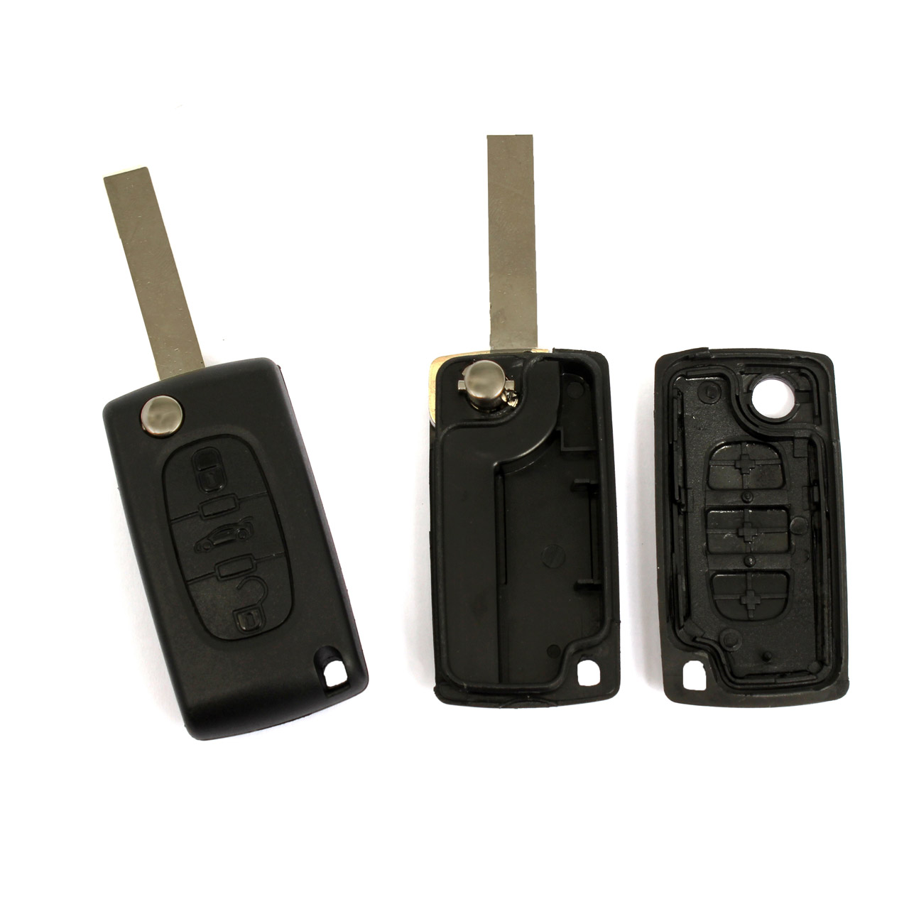 1x Schlüsselgehäuse + Schlüsselrohling 3-Tasten PEUGEOT 207 307