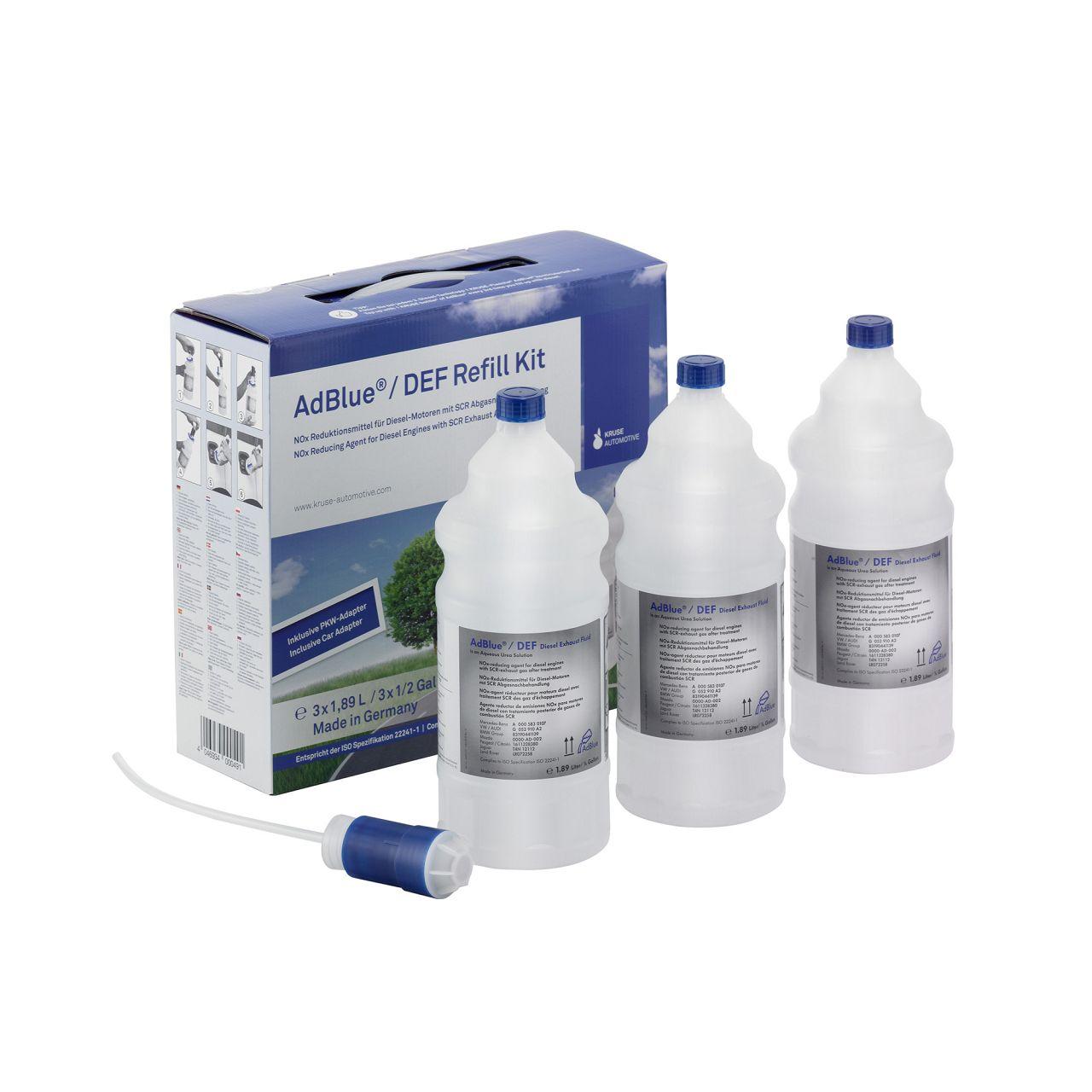 AdBlue® NOX-Reduktionsmittel Harnstoff Refill Kit 3x 1,89 Liter inkl. Adapter