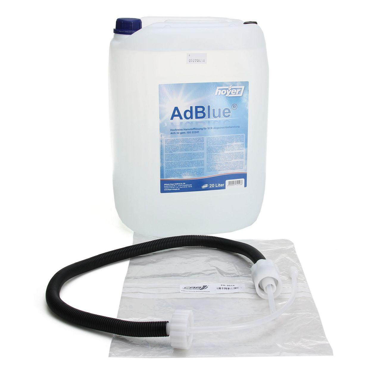 AdBlue® NOX-Reduktionsmittel für Diesel-Motoren Harnstoff 20 L + Befüllschlauch