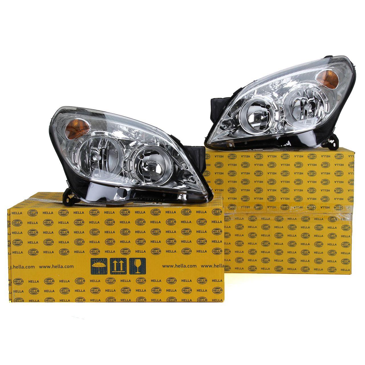2x HELLA Scheinwerfer + Stellmotor HALOGEN für OPEL ASTRA H links + rechts