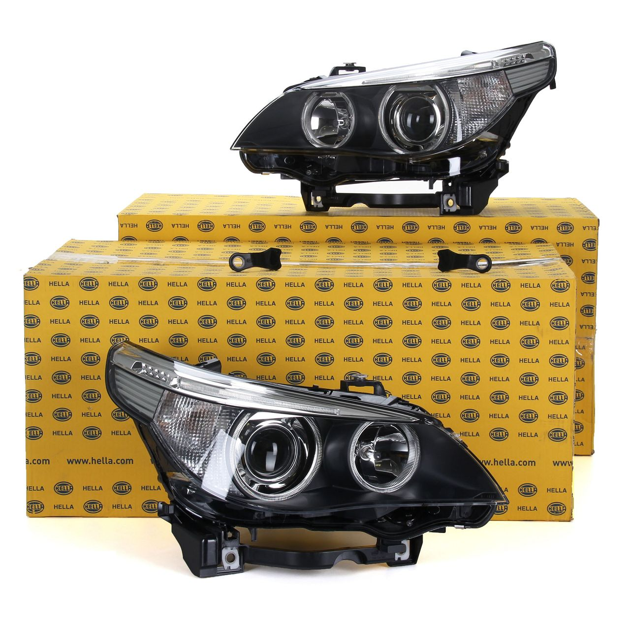 2x HELLA Hauptscheinwerfer + Stellmotor BI-XENON für BMW 5er E60 + 5er E61