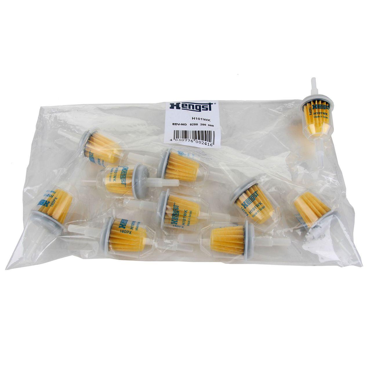 10x Kraftstofffilter Hengst H101WK universal Benzinfilter Universalfilter