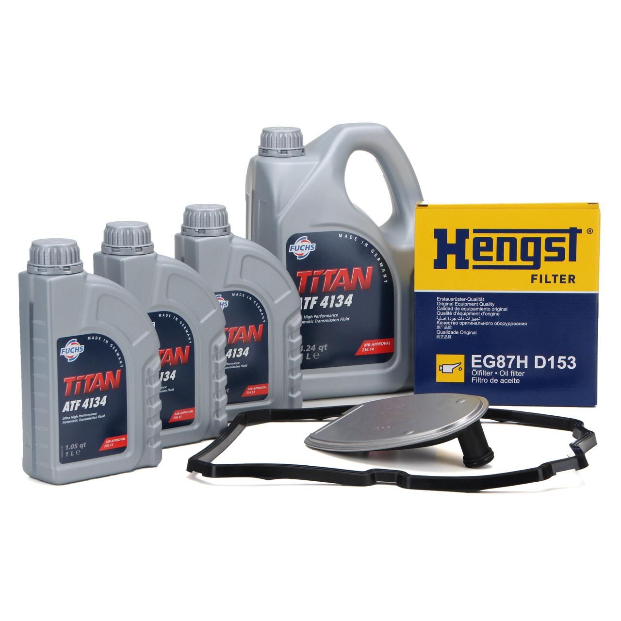 HENGST Getriebefilter + 7L FUCHS Getriebeöl 5-Gang 722.6 Automatik für MERCEDES