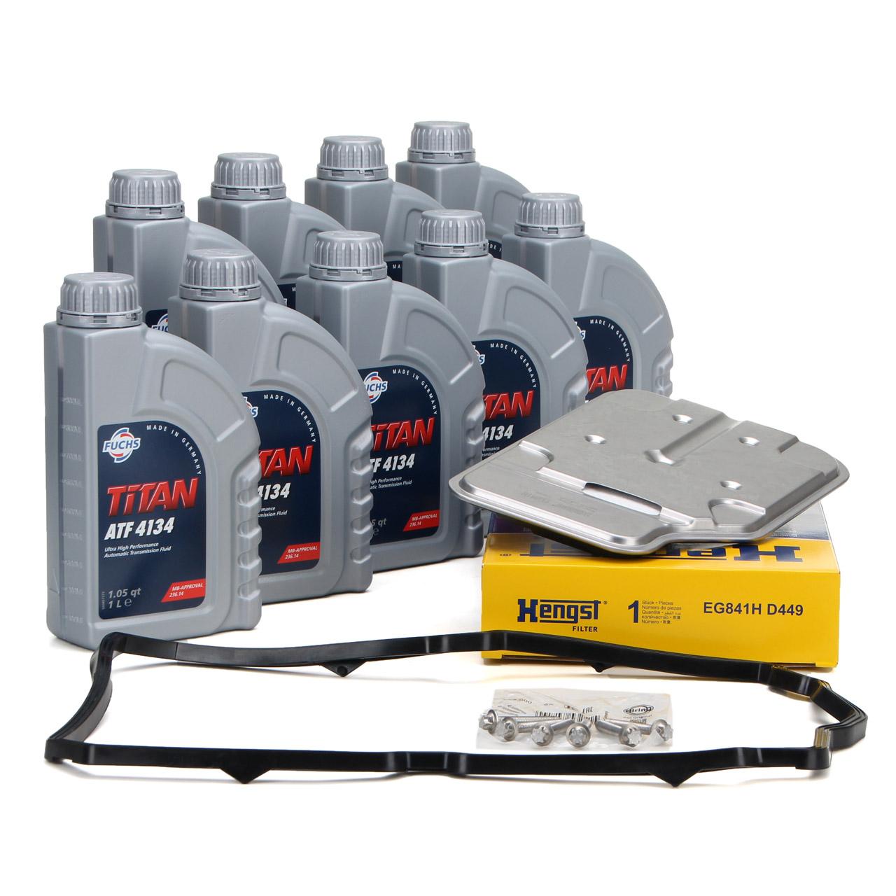 HENGST Getriebefilter + 9 Liter FUCHS Getriebeöl 7-Gang 722.9 für MERCEDES-BENZ