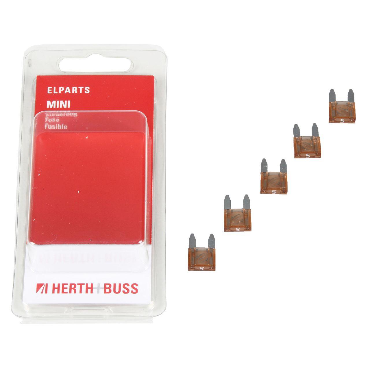 5x HERTH+BUSS Auto KFZ Sicherung Stecksicherung Flachsicherung HELLBRAUN 5A MINI