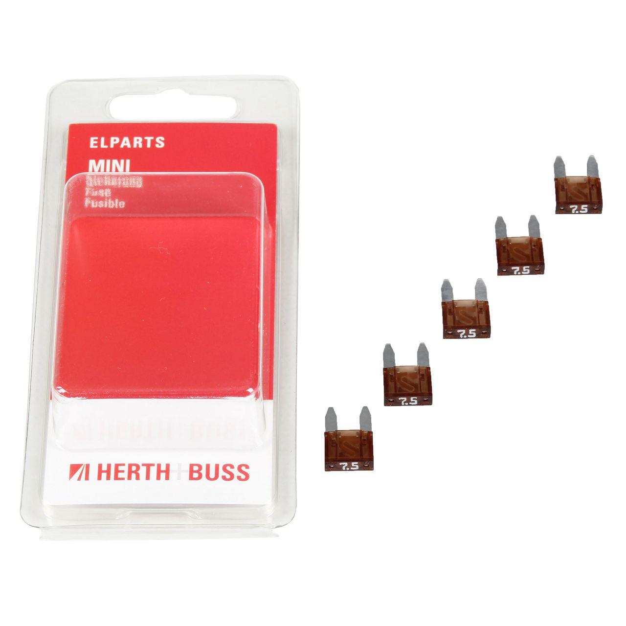5x HERTH+BUSS Auto KFZ Sicherung Stecksicherung Flachsicherung BRAUN 7,5A MINI