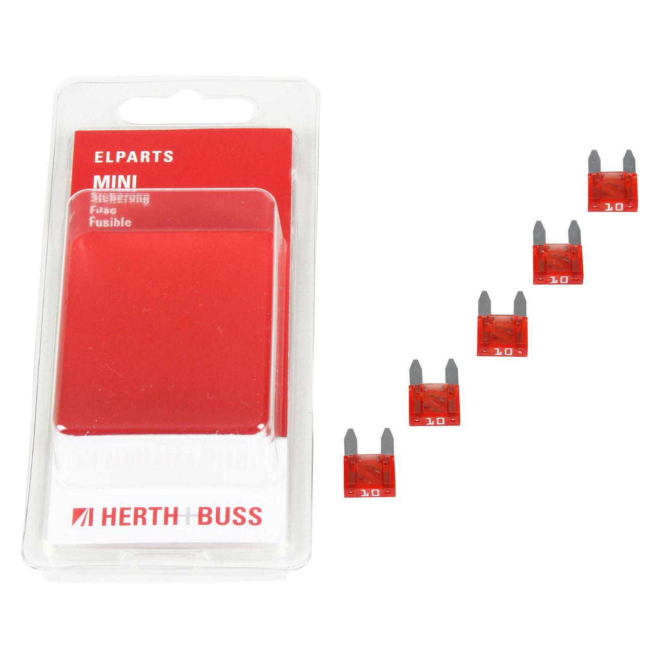 5x HERTH+BUSS Auto KFZ Sicherung Stecksicherung Flachsicherung ROT 10A für MINI