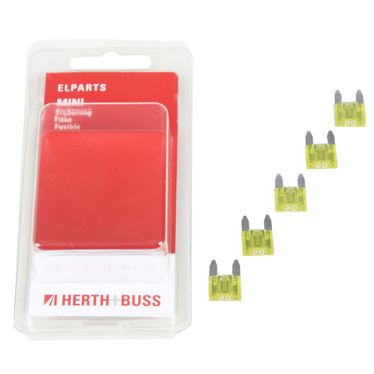5x HERTH+BUSS Auto KFZ Sicherung Stecksicherung Flachsicherung GELB 20A für MINI