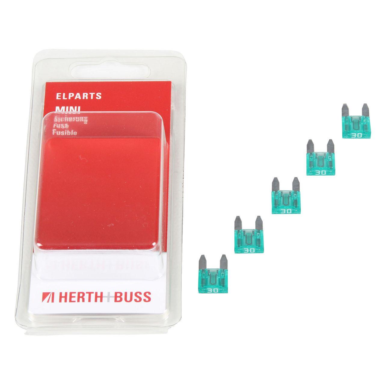 5x HERTH+BUSS Auto KFZ Sicherung Stecksicherung Flachsicherung GRÜN 30A für MINI