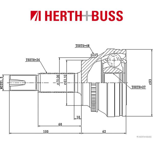 HERTH+BUSS JAKOPARTS Achsmanschette Satz für TOYOTA CAMRY PREVIA RAV 4 II vorne