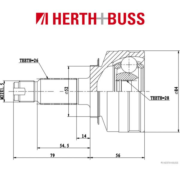 HERTH+BUSS JAKOPARTS Gelenksatz Antriebswelle für HONDA JAZZ II vorne RADSEITIG