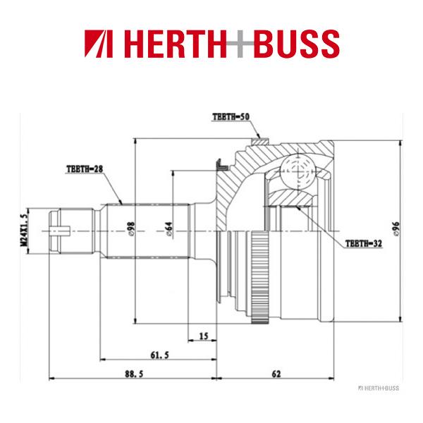 HERTH+BUSS JAKOPARTS Gelenksatz für HONDA ACCORD VI SHUTTLE (RA) vorne RADSEITIG