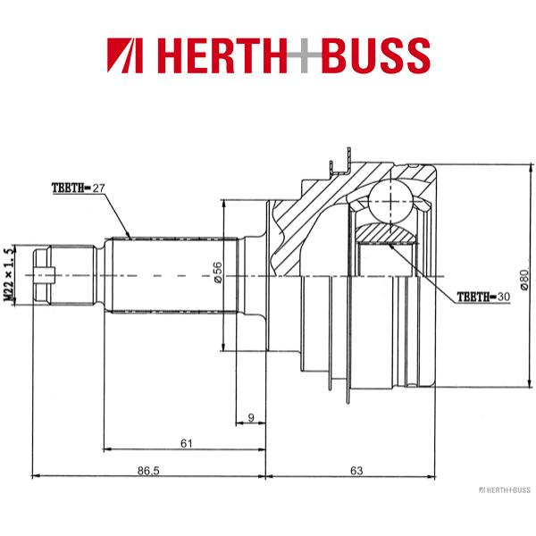 HERTH+BUSS JAKOPARTS Gelenksatz SUBARU Forester SF Impreza Legacy I II vorne RADSEITIG