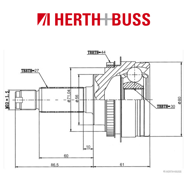 HERTH+BUSS JAKOPARTS Gelenksatz SUBARU Forester Impreza Legacy vorne RADSEITIG J2827124