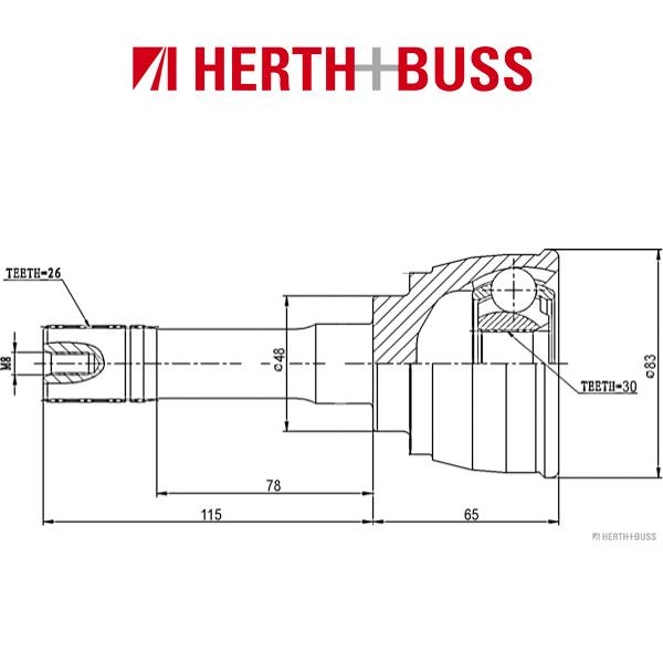 HERTH+BUSS JAKOPARTS Gelenksatz Antriebswelle für SUZUKI GRAND VITARA I vorne