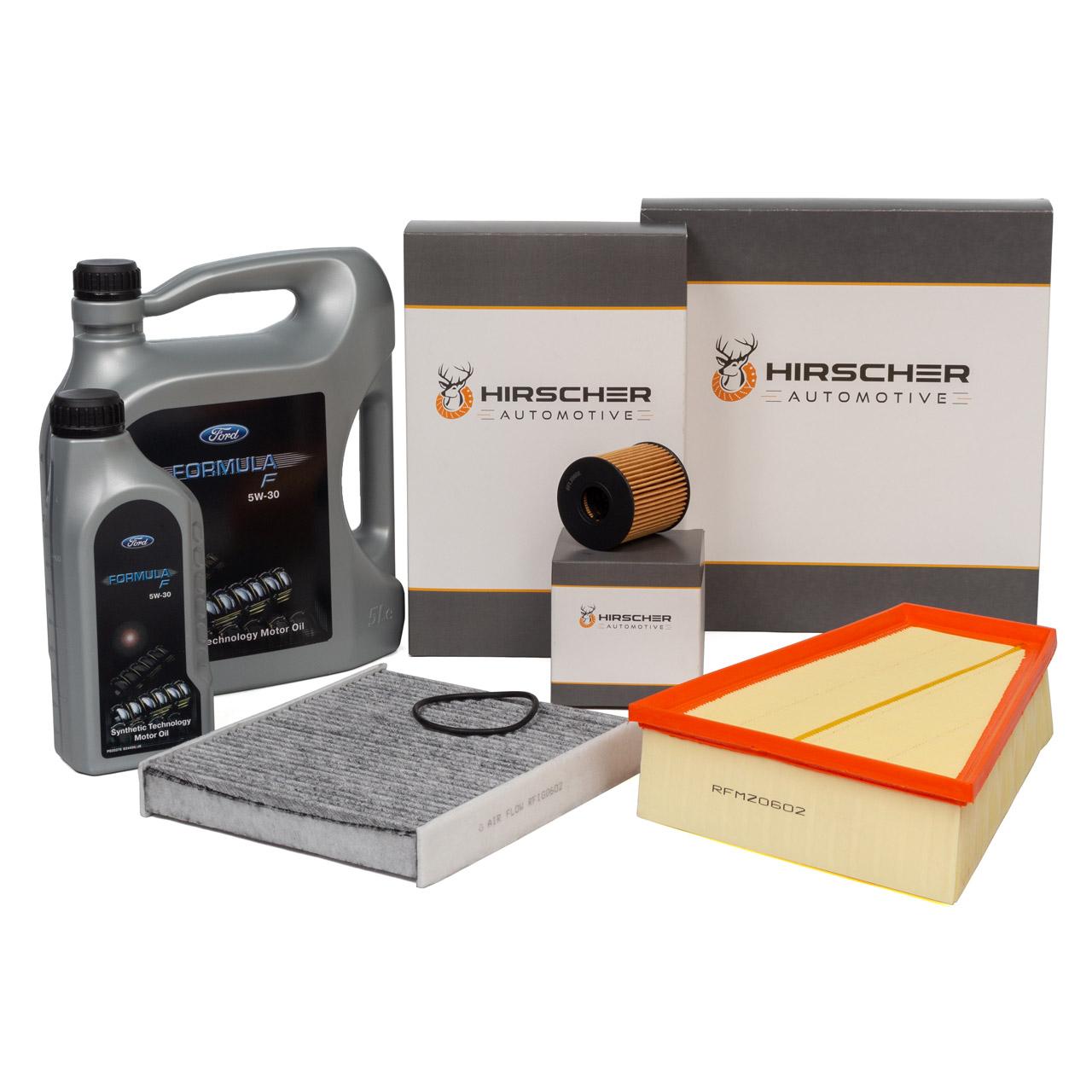 HIRSCHER Filterset + 6L ORIGINAL Ford 5W30 für GALAXY MONDEO IV S-MAX 2.0 TDCi