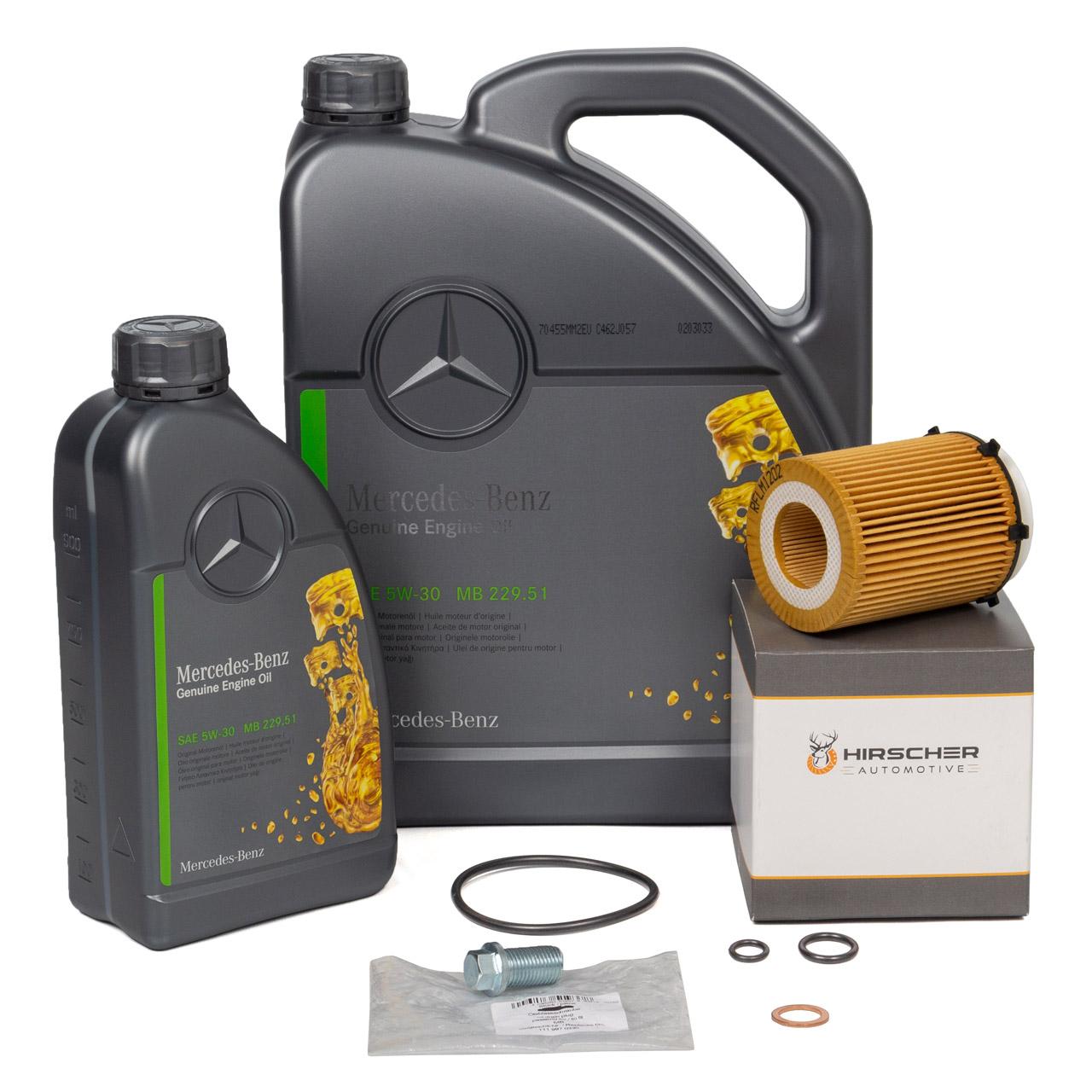 ORIGINAL Mercedes Motoröl 5W-30 MB 229.51 6 Liter + HIRSCHER Ölfilter 2701800109