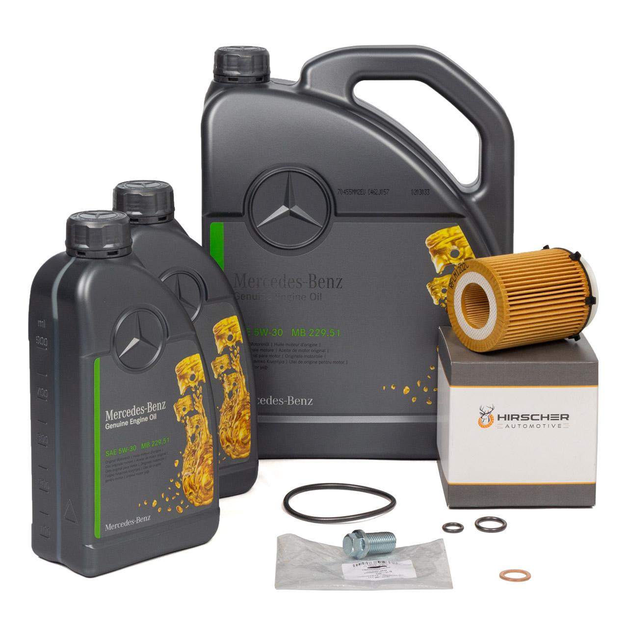 ORIGINAL Mercedes Motoröl 5W-30 MB 229.51 7 Liter + HIRSCHER Ölfilter 2701800109