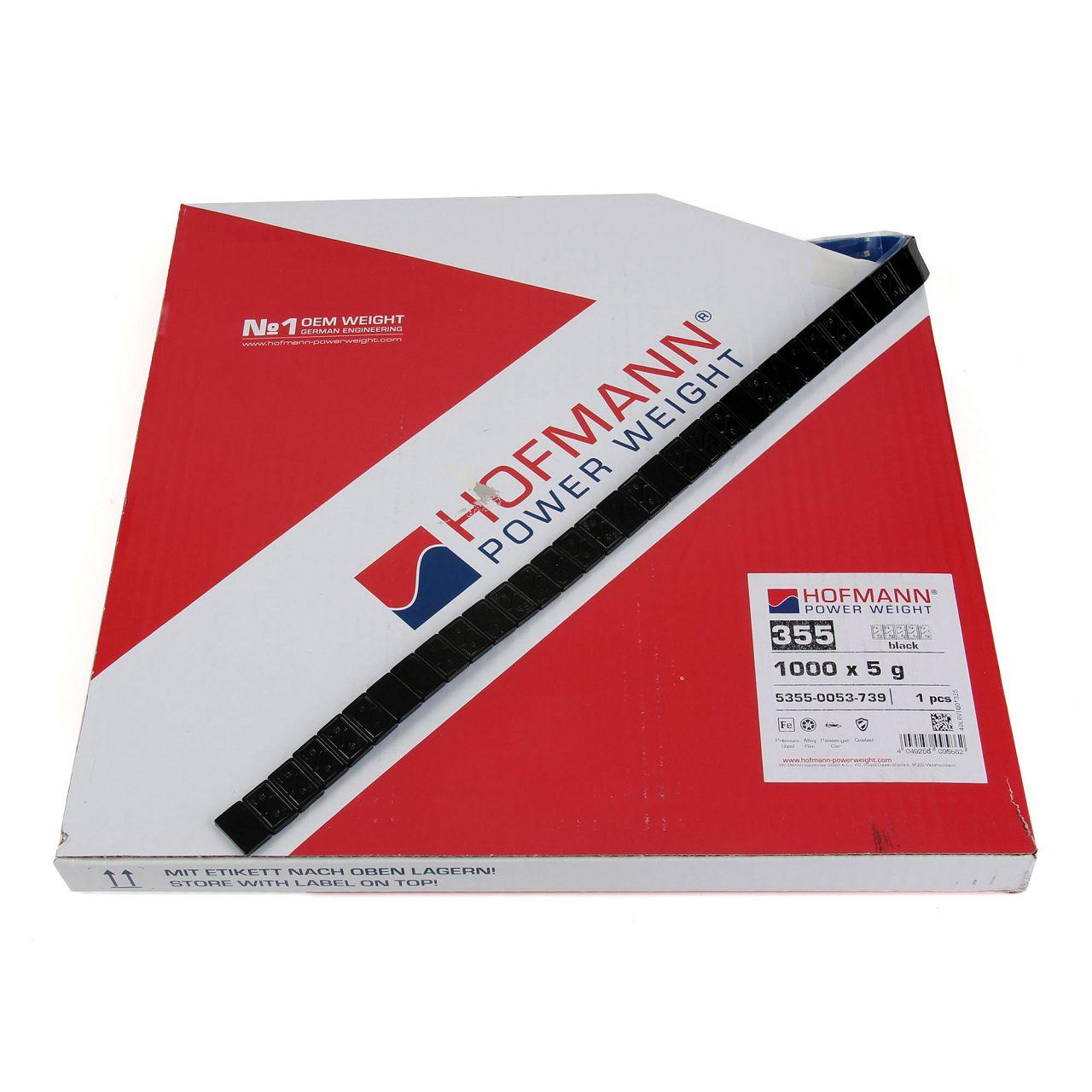 HOFMANN Auswuchtgewichte Klebegewichte SCHWARZ-STAHL 3,8mm | 1000 Stück x 5g