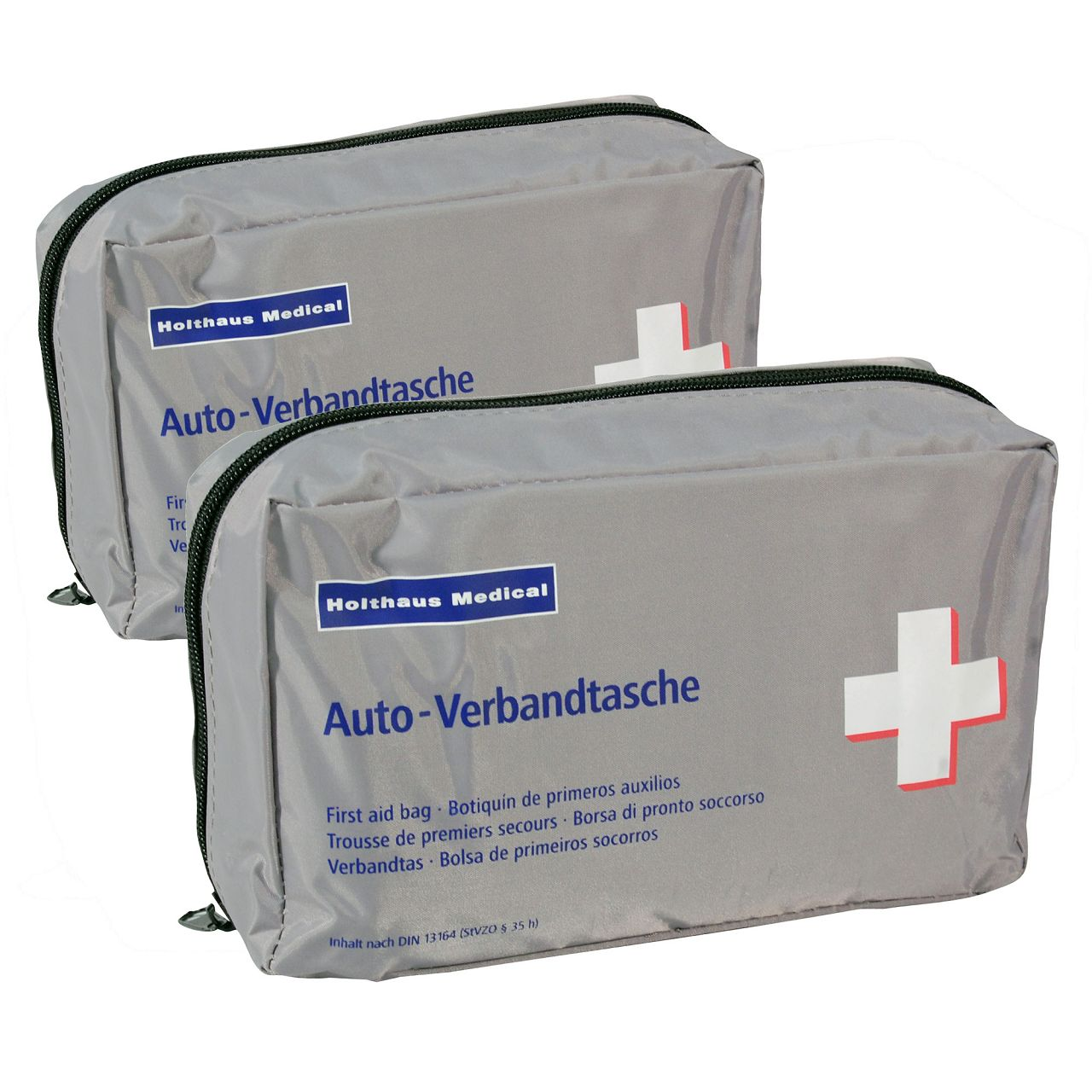 2x HOLTHAUS Verbandstasche Verbandtasche KOMPAKT SILBER Erste Hilfe MHD 12.2026