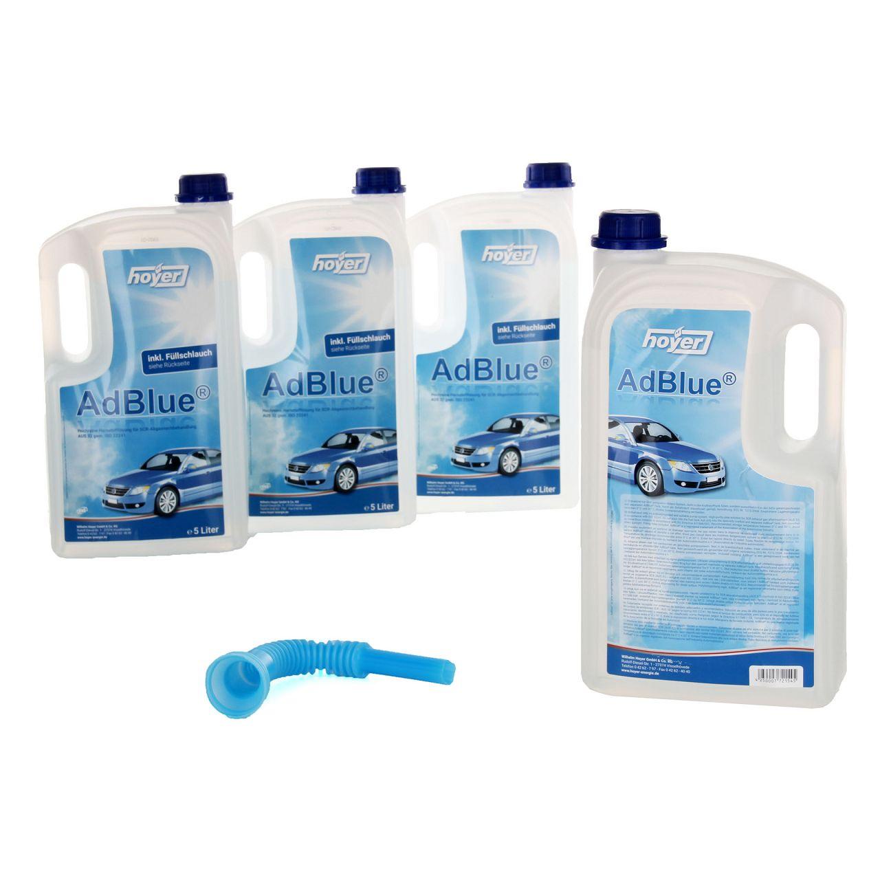 4x 5 Liter AdBlue® NOX-Reduktionsmittel für Diesel-Motoren Harnstoff ISO 22241