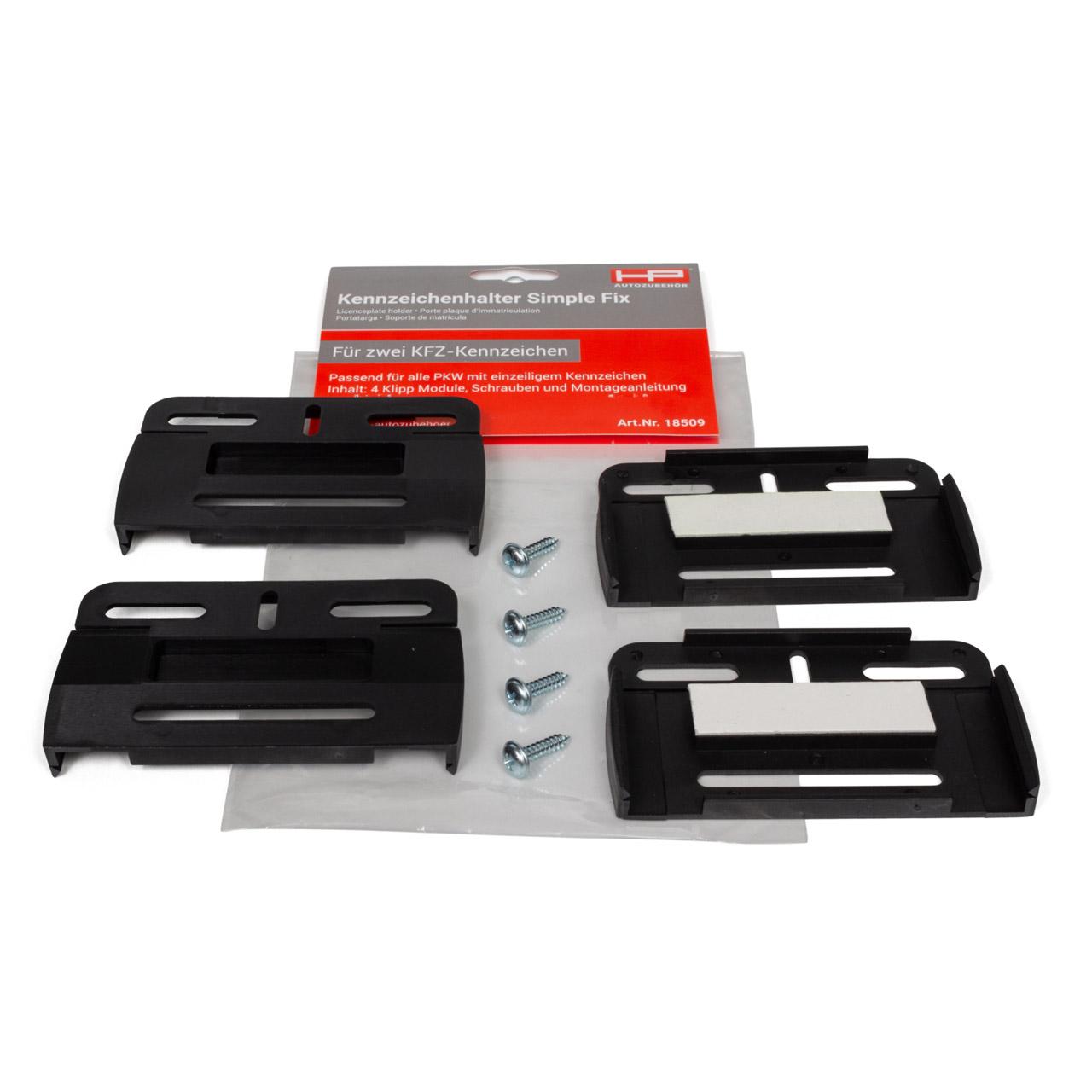 2x HP Simple-Fix Rahmenlos Kennzeichenhalter Nummernschildhalter Komplett Set