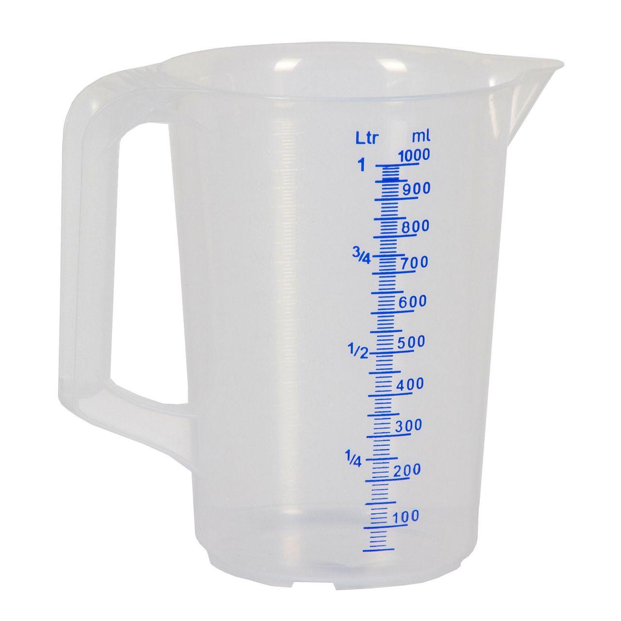 HÜNERSDORFF 936000 Messbecher Messkanne Plastik transparent 1000ml 1L 1 Liter