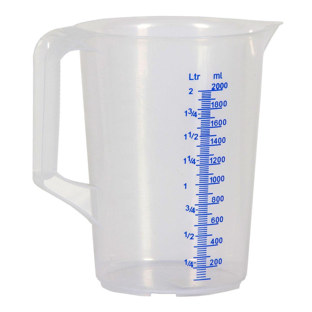 HÜNERSDORFF 937000 Messbecher Messkanne Plastik transparent 2000ml 2L 2 Liter