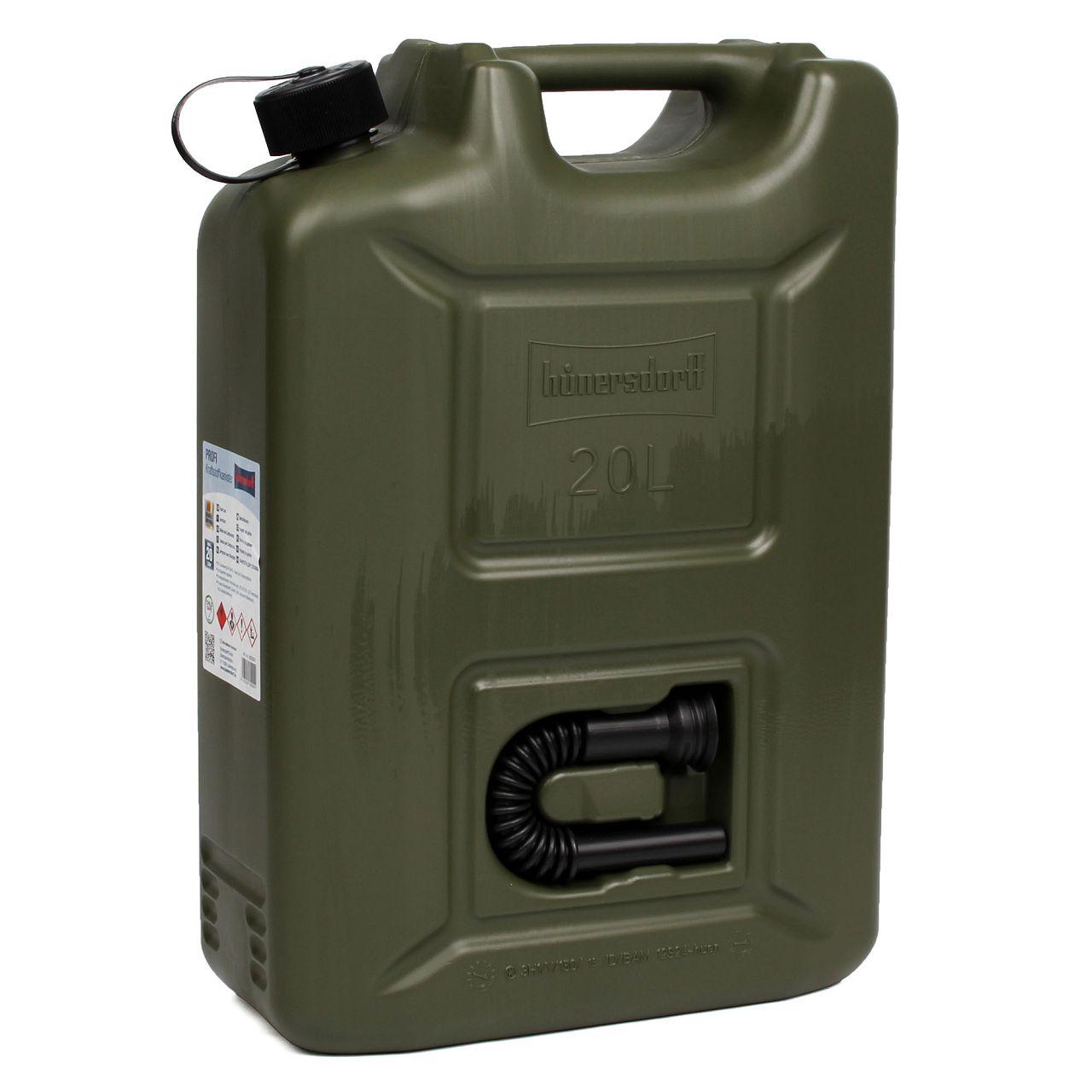 HÜNERSDORFF 802000 Kanister Benzinkanister Reservekanister PROFI 20 L Nato-oliv