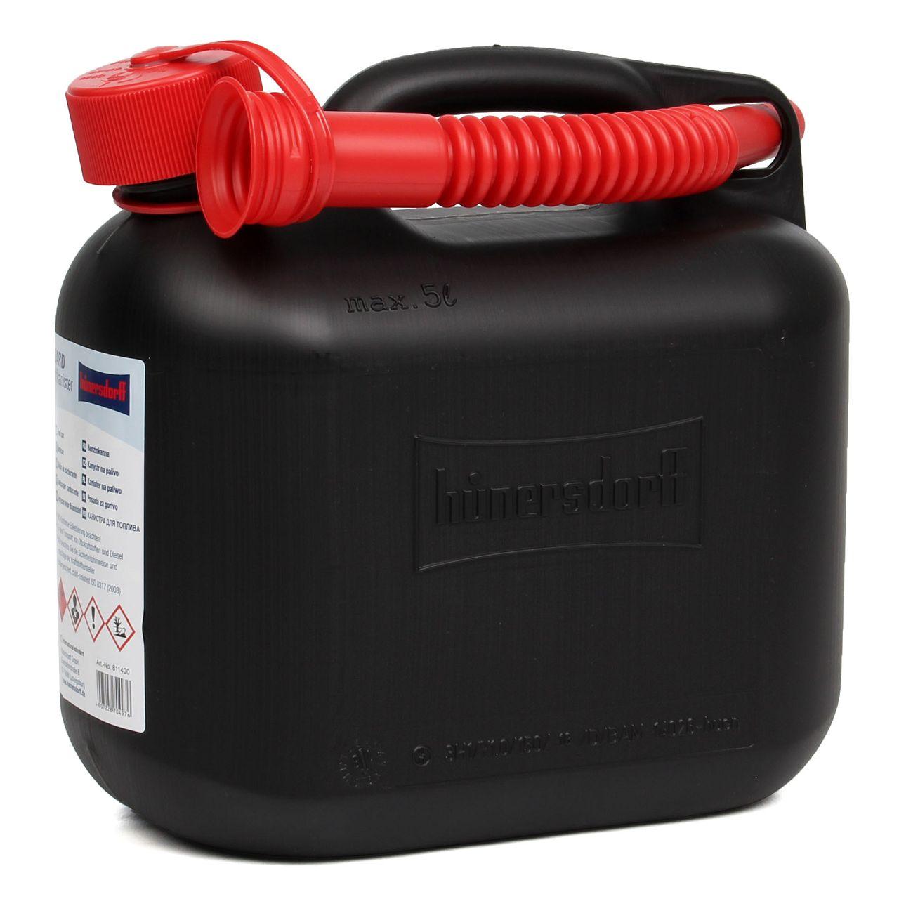 HÜNERSDORFF 811400 Kanister Benzinkanister Reservekanister 5 L Schwarz