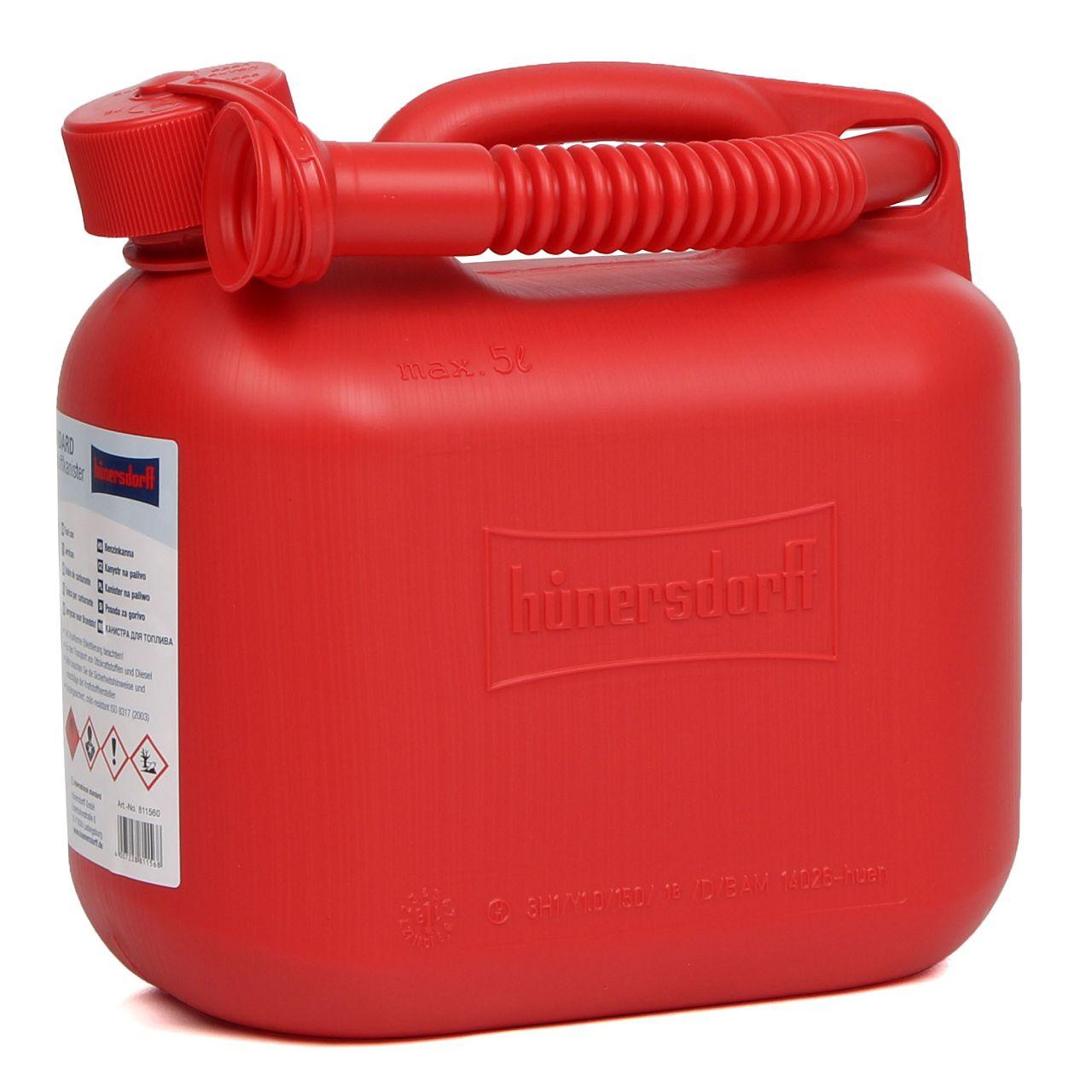 HÜNERSDORFF 811560 Kanister Benzinkanister Reservekanister 5 L Rot