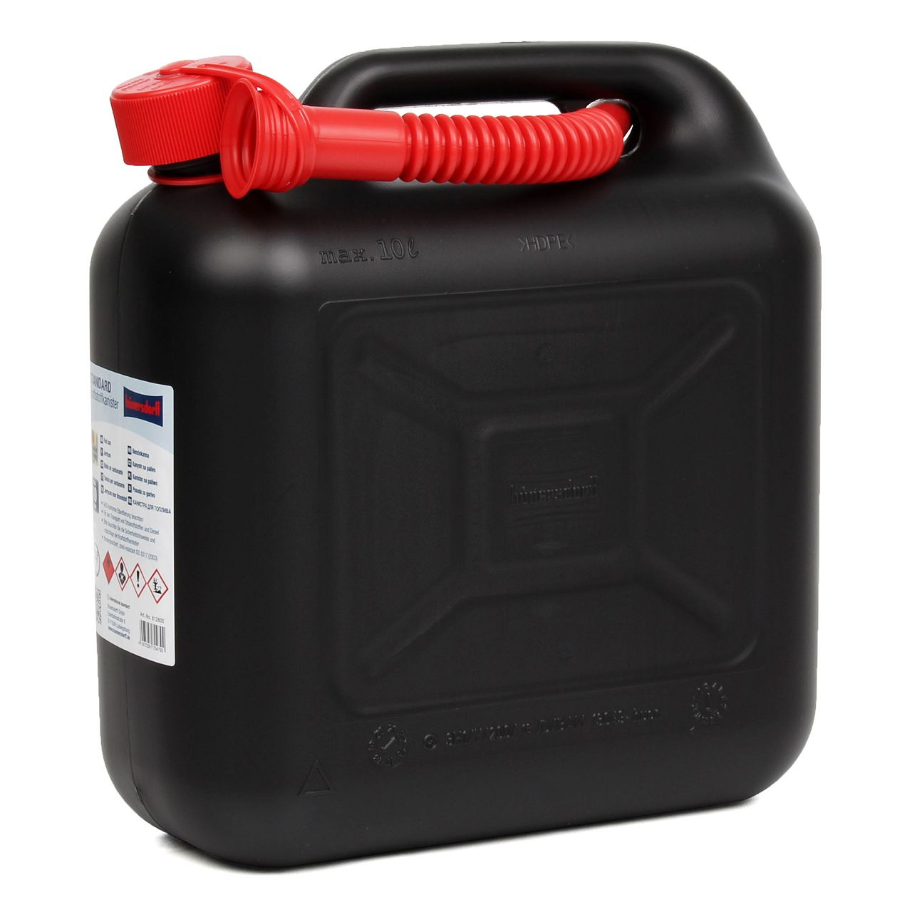HÜNERSDORFF 812800 Kanister Benzinkanister Reservekanister 10 L Schwarz