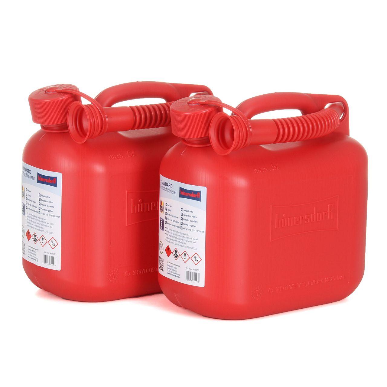 2x 5 L HÜNERSDORFF 811560 Kanister Benzinkanister Reservekanister Rot