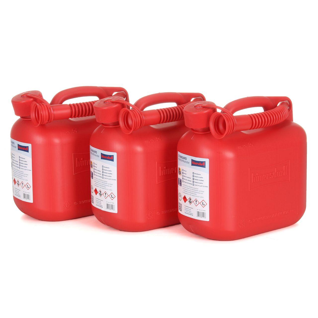 3x 5 L HÜNERSDORFF 811560 Kanister Benzinkanister Reservekanister Rot