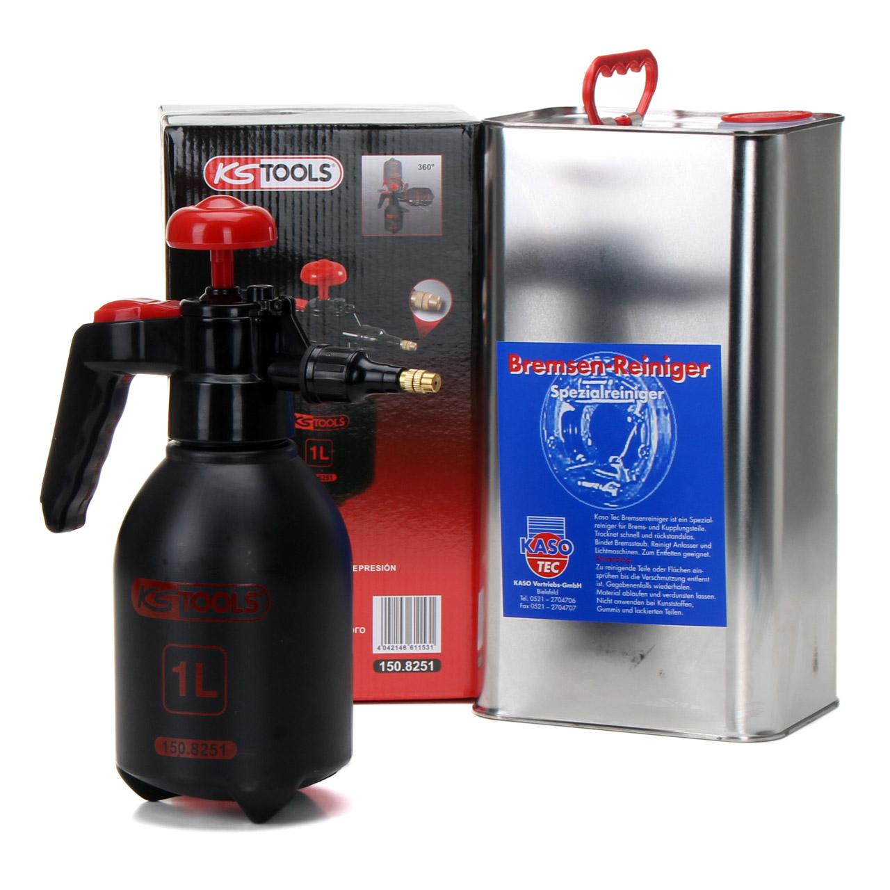 KASOTEC Bremsenreiniger Montagereiniger 5 L + KS TOOLS Druckpumpflasche 1 LITER