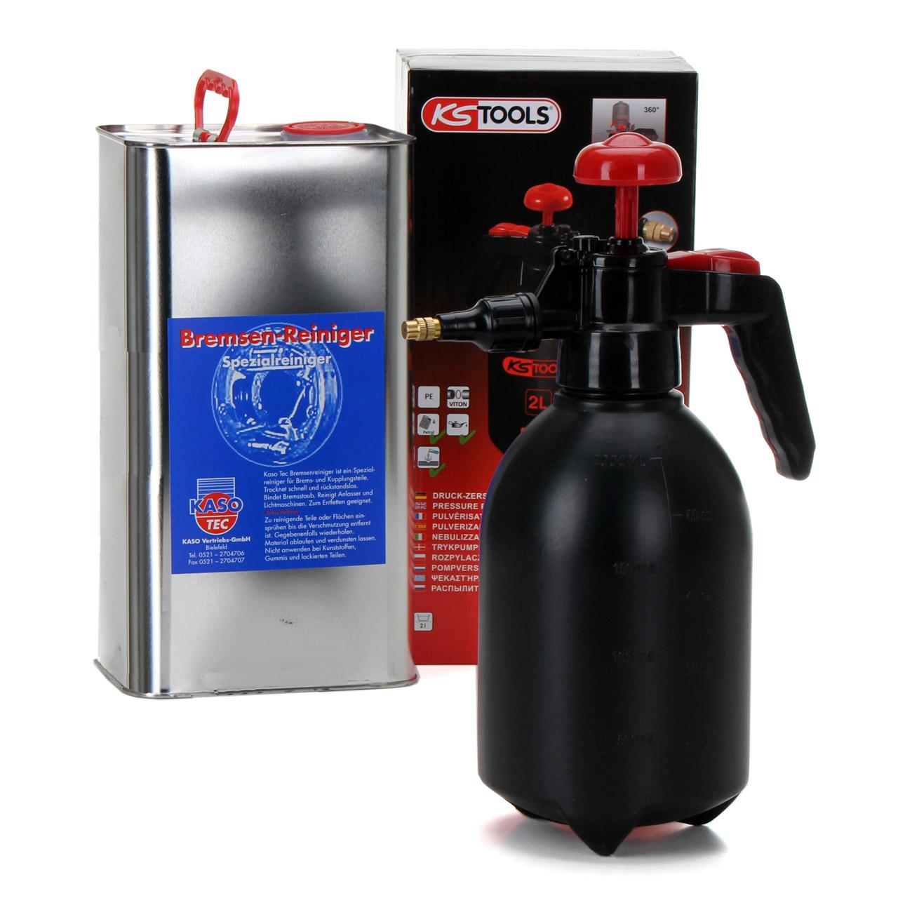 KASOTEC Bremsenreiniger Montagereiniger 5 L + KS TOOLS Druckpumpflasche 2 LITER
