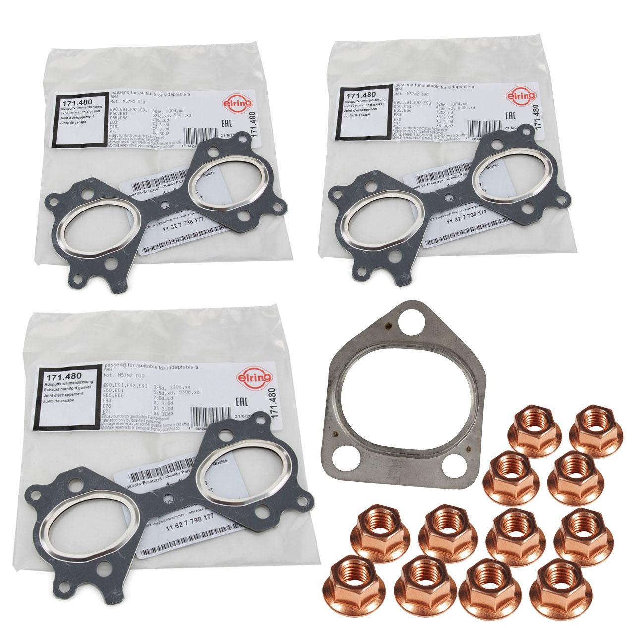 Abgaskrümmerdichtung + Schrauben Set für BMW E46 330d E39 E60 E61 525d 530d M57