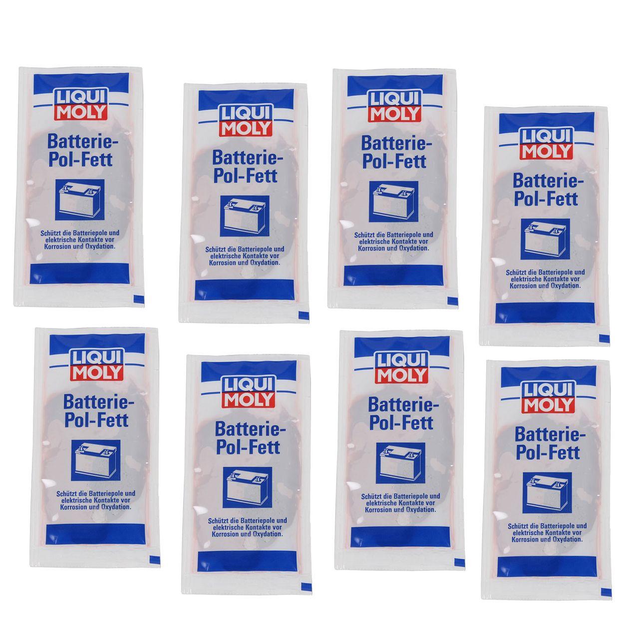 8x 10g LIQUI MOLY 3139 Batteriepolfett Batterie-Pol-Fett