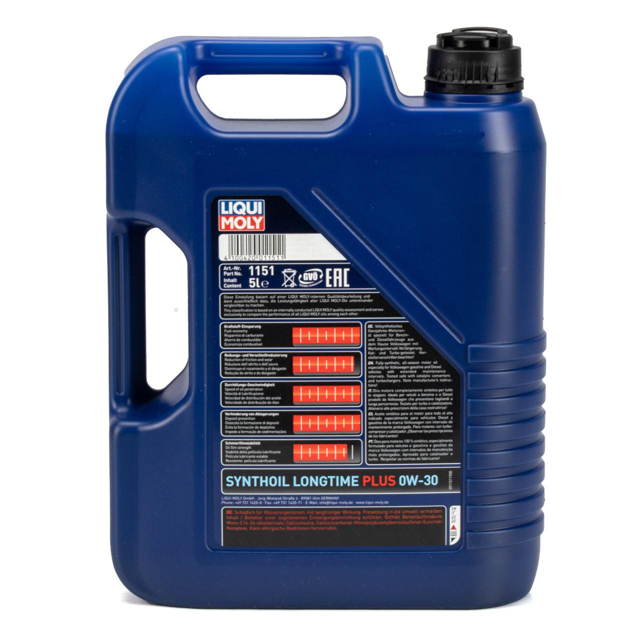 LIQUI MOLY SYNTHOIL LONGTIME PLUS Motoröl Öl 0W30 VW 503/506.00 - 5L 5 Liter