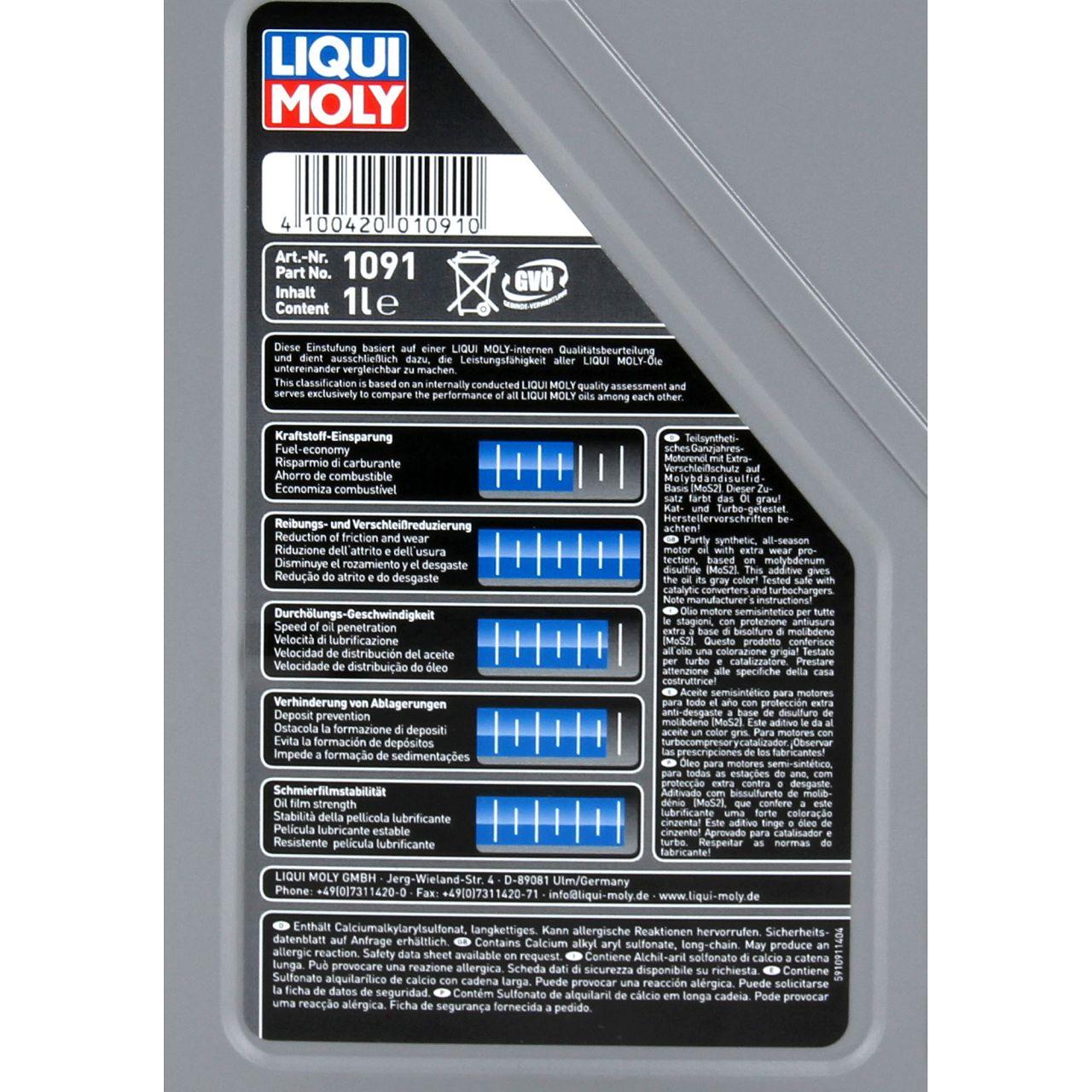 LIQUI MOLY Motoröl Öl MoS2 LEICHTLAUF 10W40 10W-40 1L 1Liter 1091