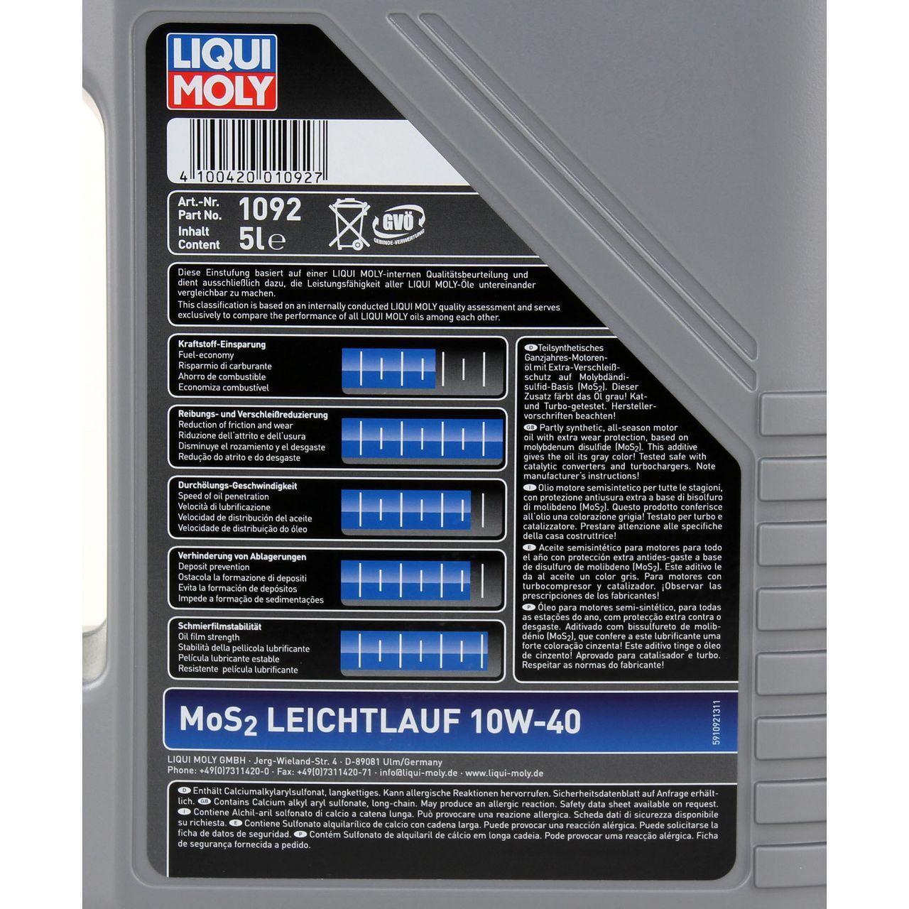 LIQUI MOLY Motoröl Öl MoS2 LEICHTLAUF 10W40 10W-40 5L 5 Liter 1092