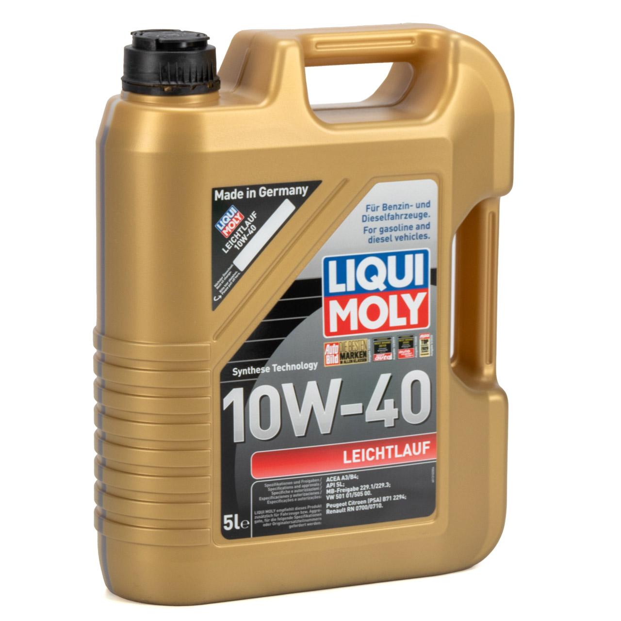 LIQUI MOLY Motoröl Öl Leichtlauf 10W40 MB 229.1/3 VW 501.01/505.00 - 5L 5 Liter