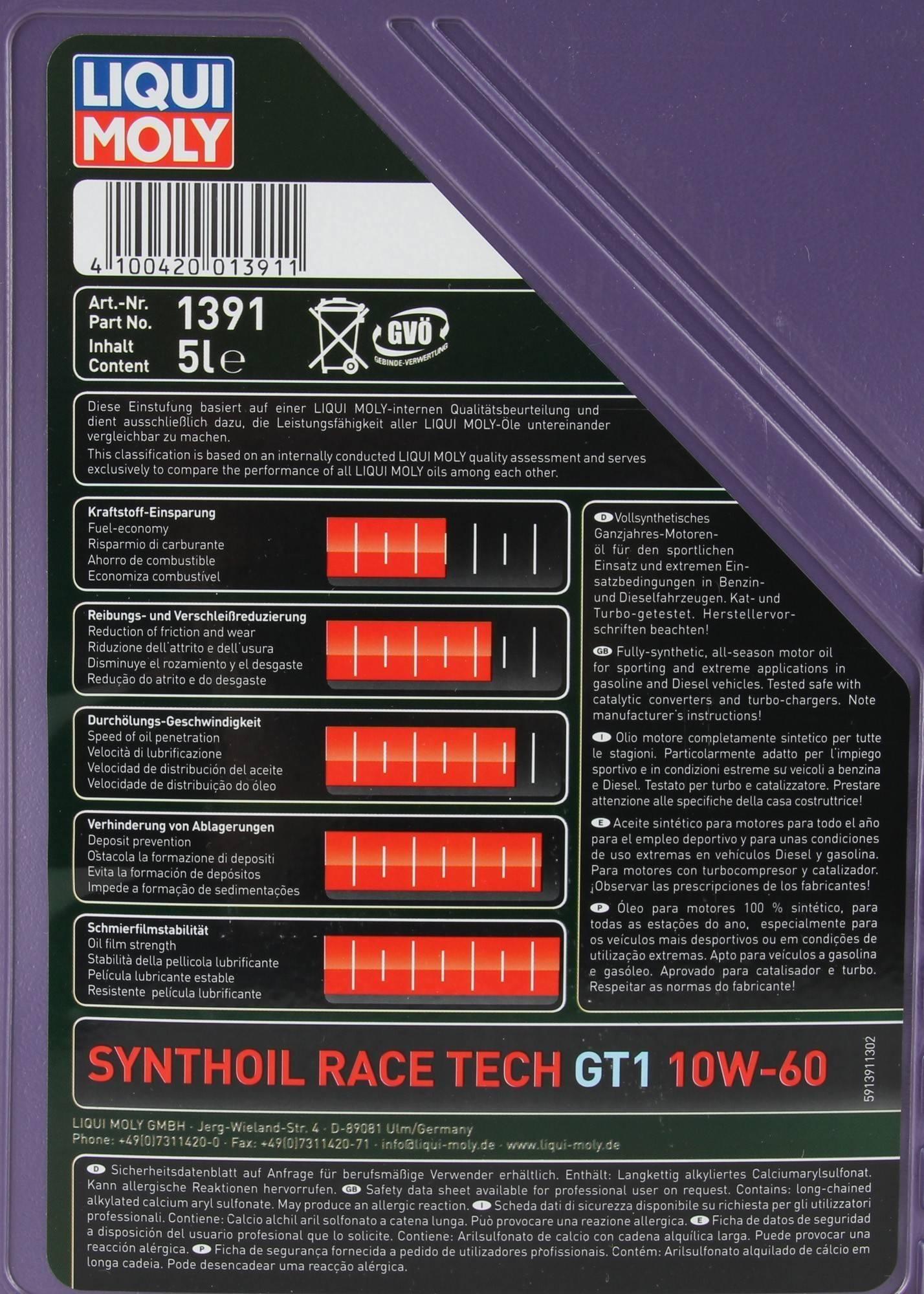 LIQUI MOLY Motoröl Öl SYNTHOIL RACE TECH GT1 10W60 10W-60 5L 5 Liter 1391
