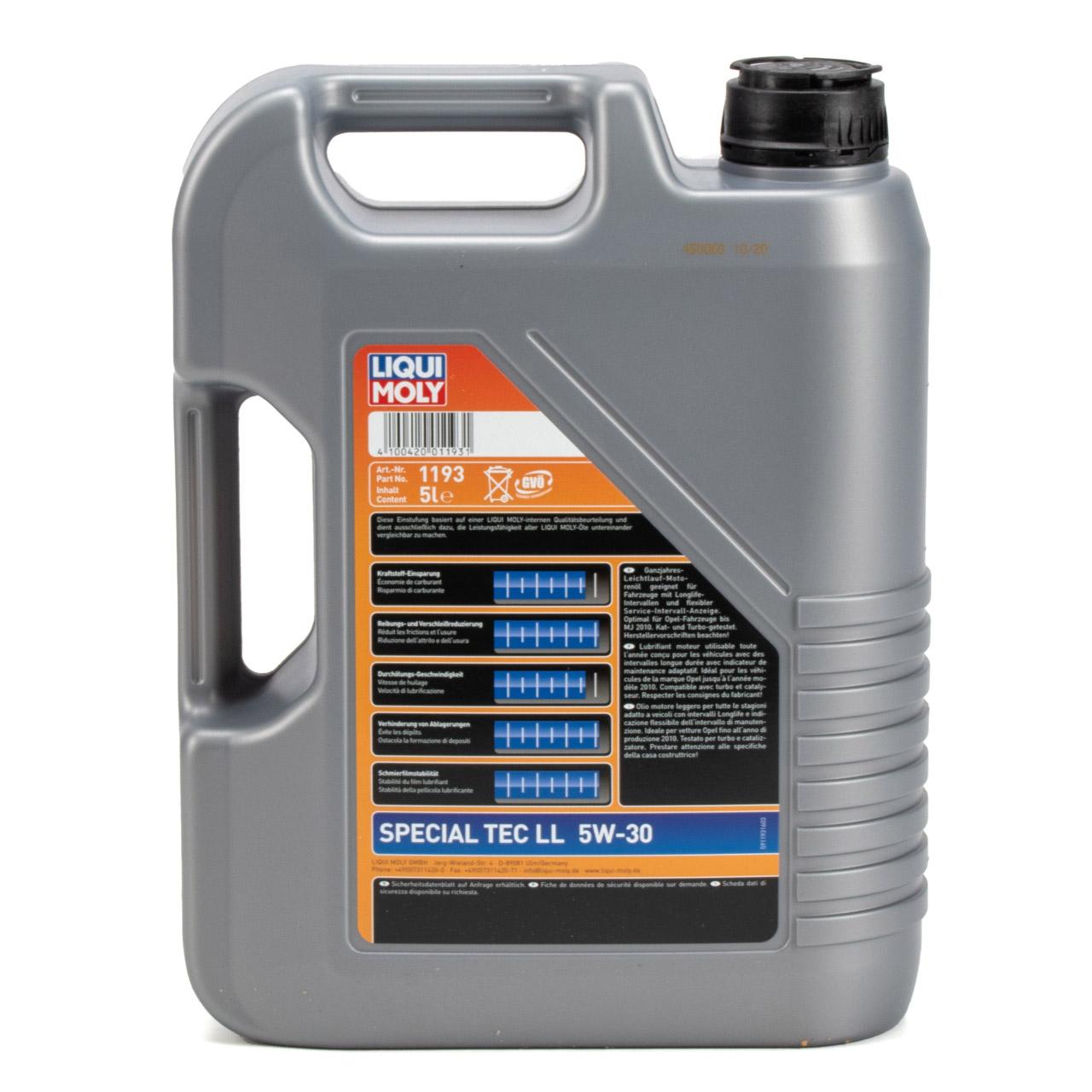 LIQUI MOLY Motoröl Öl SPECIAL TEC LL 5W30 MB 229.5 VW 502/505.00 - 5L 5 Liter