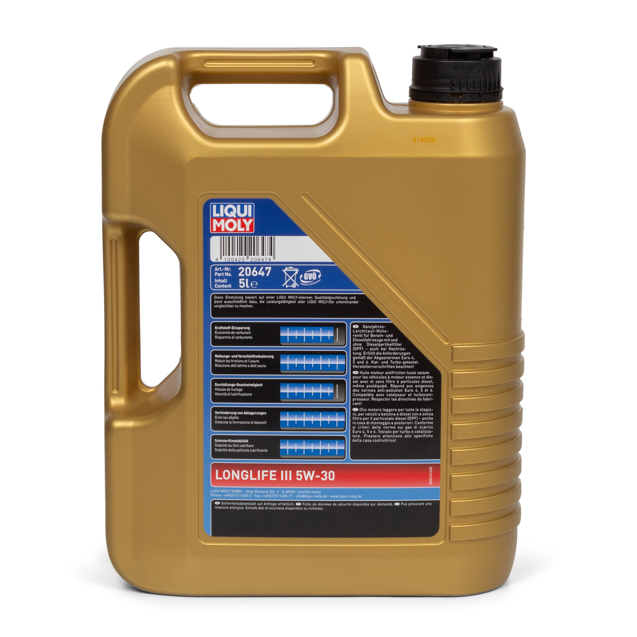 LIQUI MOLY 20647 Motoröl Öl 5W30 LONGLIFE III VW 504/507.00 LL04 MB 229.51 - 5L