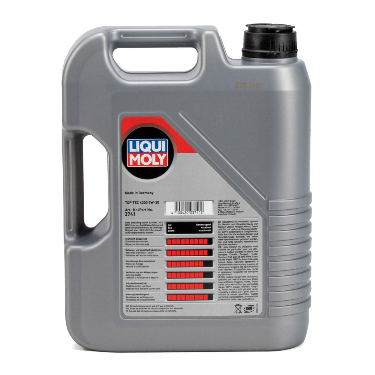 5L LIQUI MOLY TOP TEC 4300 Motoröl Motorenöl 5W-30 5W30 ACEA C2 PSA B71 2290