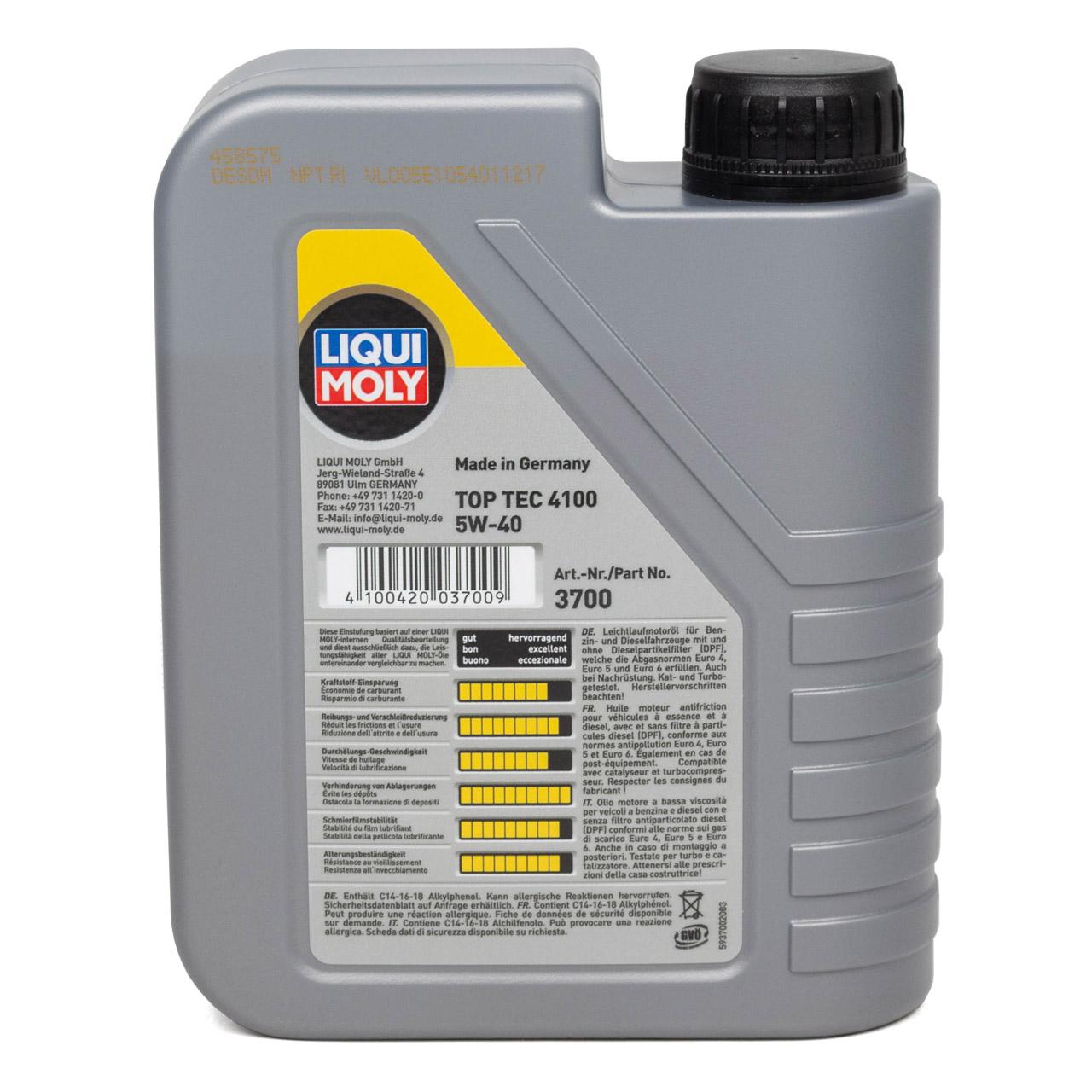 LIQUI MOLY Motoröl Öl TOP TEC 4100 5W40 5W-40 1L 1Liter 3700