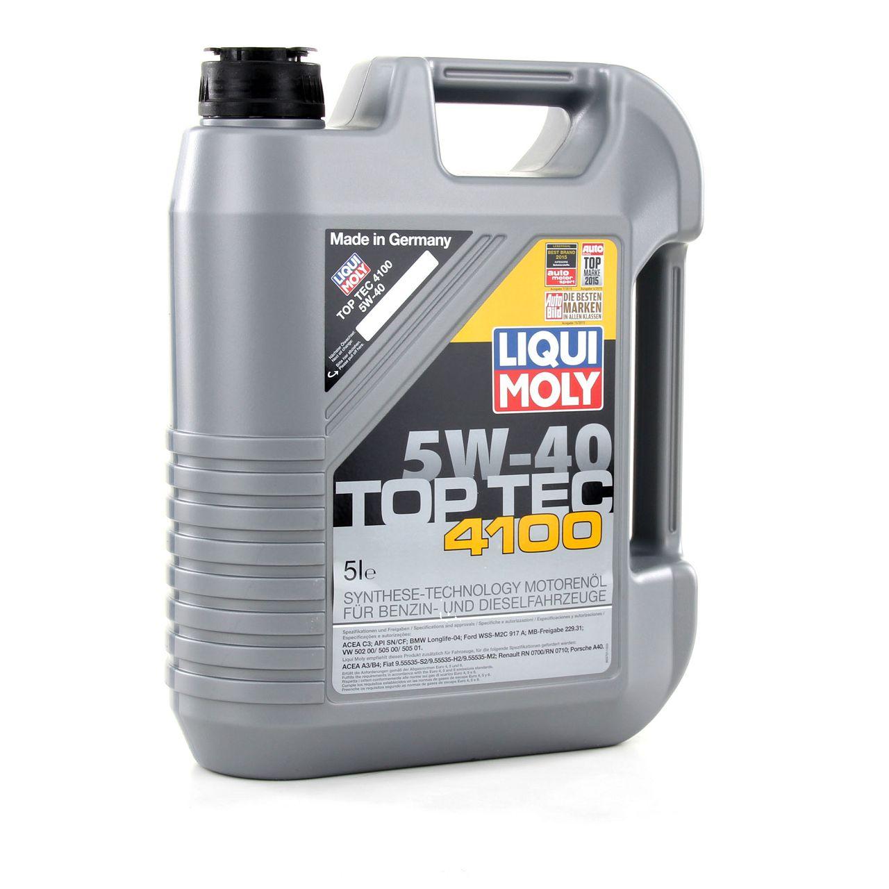 LIQUI MOLY Motoröl Öl TOP TEC 4100 5W40 5W-40 5L 5Liter 3701